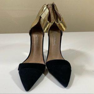 7 JEFFREY CAMPBELL black & gold ankle wrap pumps